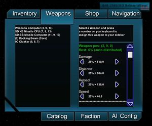 The weapons interface.
